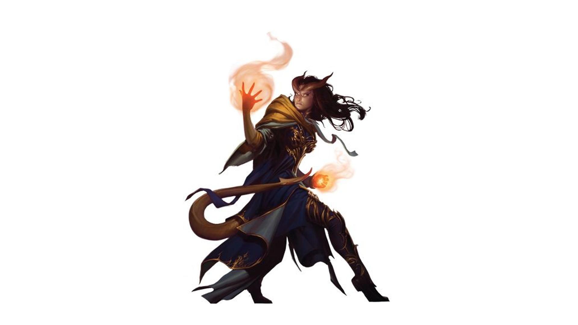 Tiefling Warlock holding a flame