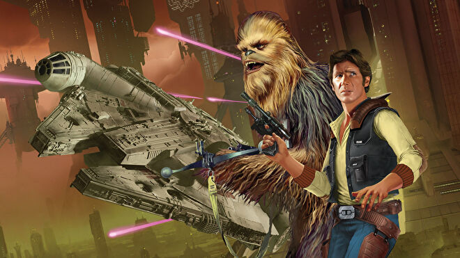 Play a bounty hunter or a Jedi in the Star Wars Roleplaying, pictured is concept art from the Star Wars: Edge of the Empire RPG.