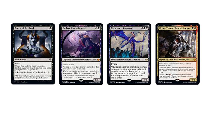 Magic: The Gathering - Theros: Beyond Death's Black cards, including Omen of the Dead, Erebos, Bleak-Hearted, Nightmare Shepherd and Kroxa, Titan of Death's Hunger
