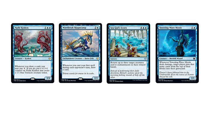 Magic: The Gathering - Theros Beyond Death Blue cards, including Nadir Kraken, Wavebreak Hippocamp, Sea God's Scorn and Towering-Wave Mystic