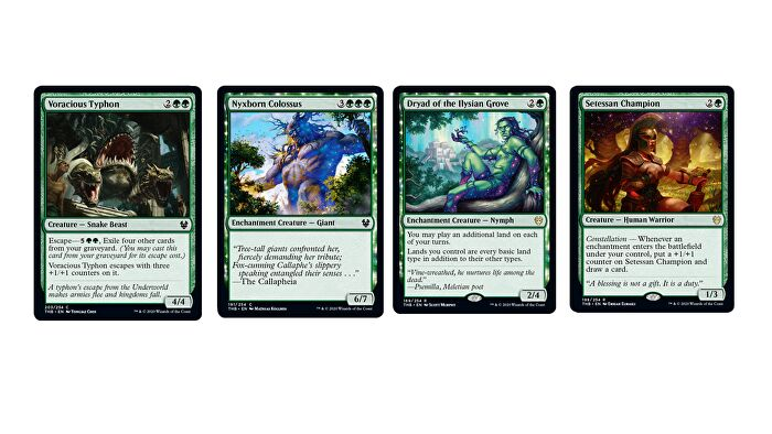 Magic: The Gathering - Theros: Beyond Death's Green cards, including Voracious Typhoon, Nyxborn Colossus, Dryad of the Ilysian Grove and Setessan Champion