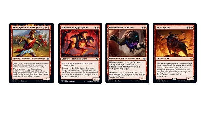 Magic: The Gathering - Theros: Beyond Death's Red cards, including Anax, Hardened in the Forge, Underworld Rage-Hound, Dreamstalker Manticore and Ox of Agonas
