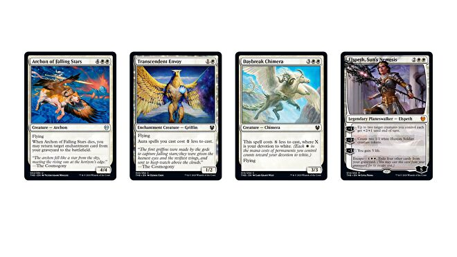 Magic: The Gathering - Theros Beyond Death White cards, including Archon of Falling Stars, Transcendent Envoy, Daybreak Chimera and planewalker Elspeth, Sun's Nemesis