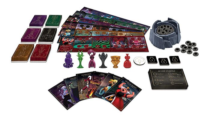 Villainous board game box art with components