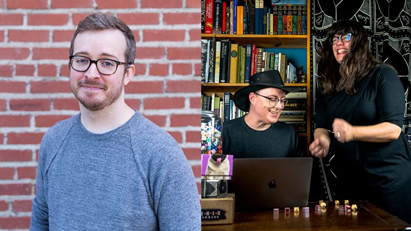 Griffin McElroy, Jenn Ellis and Keith Baker.