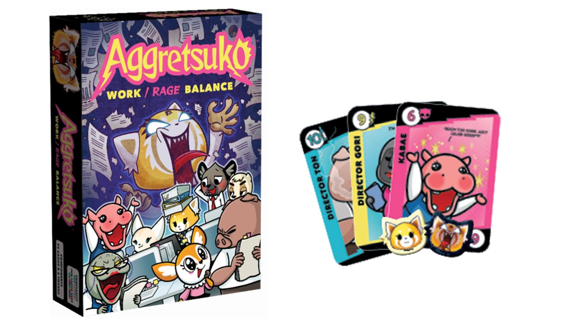 Aggretsuko: Work/Rage Balance board game components and box