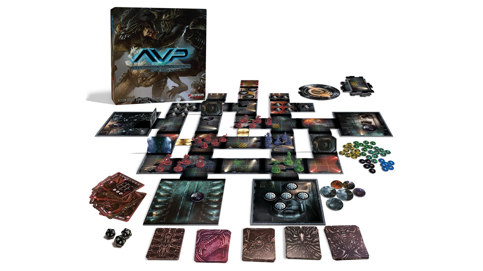 Alien vs Predator: The Hunt Begins movie board game box and gameplay layout
