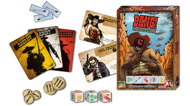 Bang! The Dice Game party board game box and components