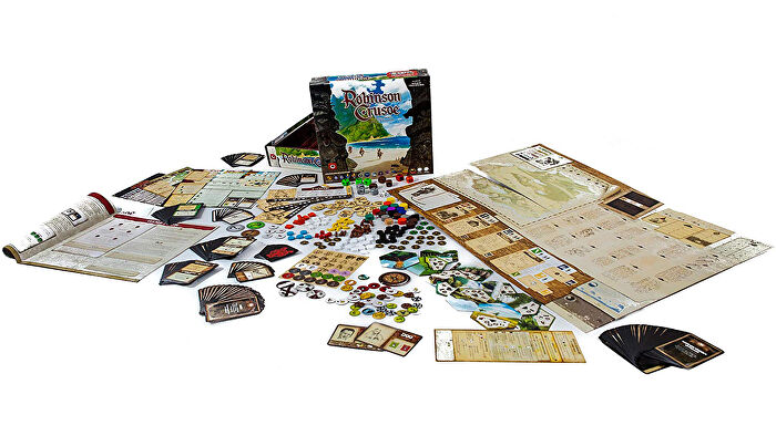 Robinson Crusoe: Adventures on the Cursed Island co-op board game components