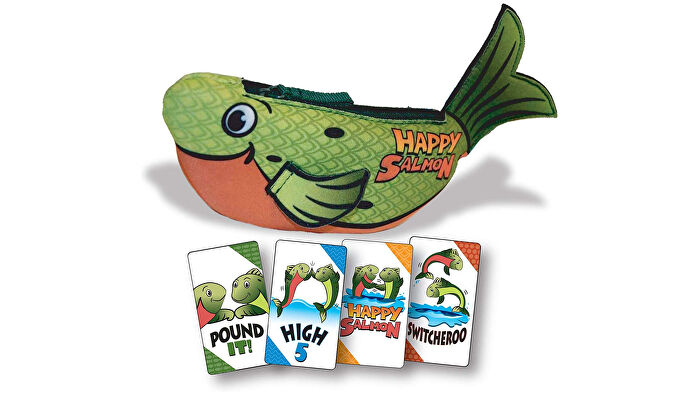 Happy Salmon party board game box and cards