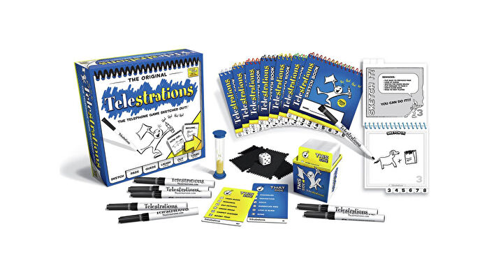 Telestrations party board game box and components