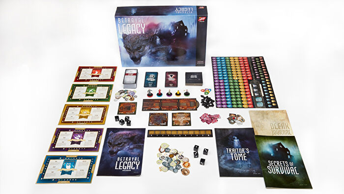 Betrayal Legacy board game box and components