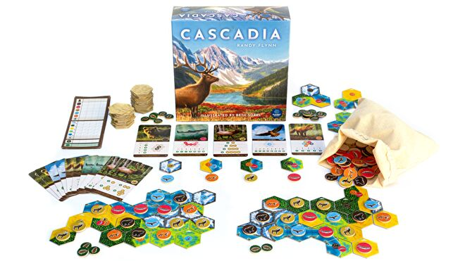 Cascadia board game layout