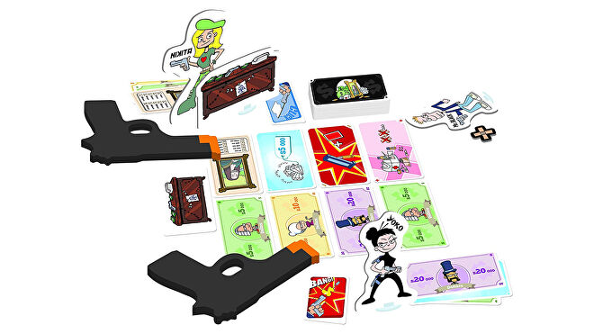Cash 'n Guns party board game gameplay layout