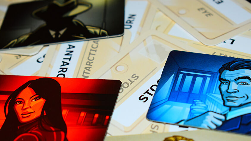 Codenames board game cards and spy tiles
