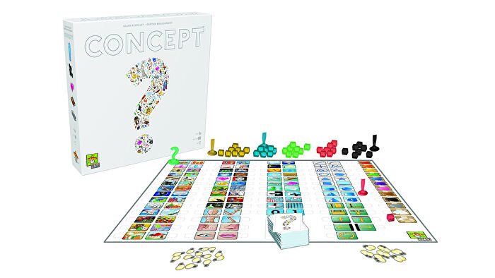 Concept party board game box and gameplay layout
