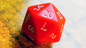 d20 20-sided die showing 20 result
