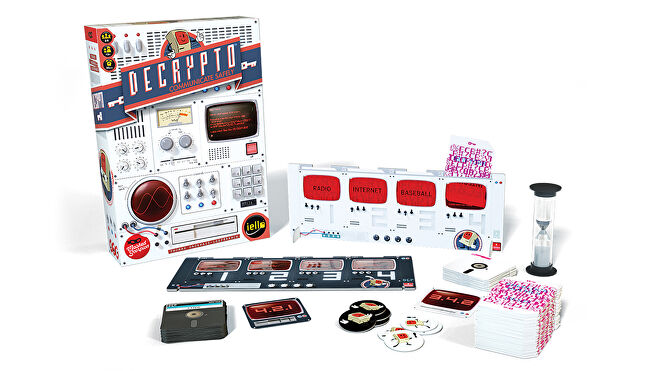 Decrypto family board game box and components
