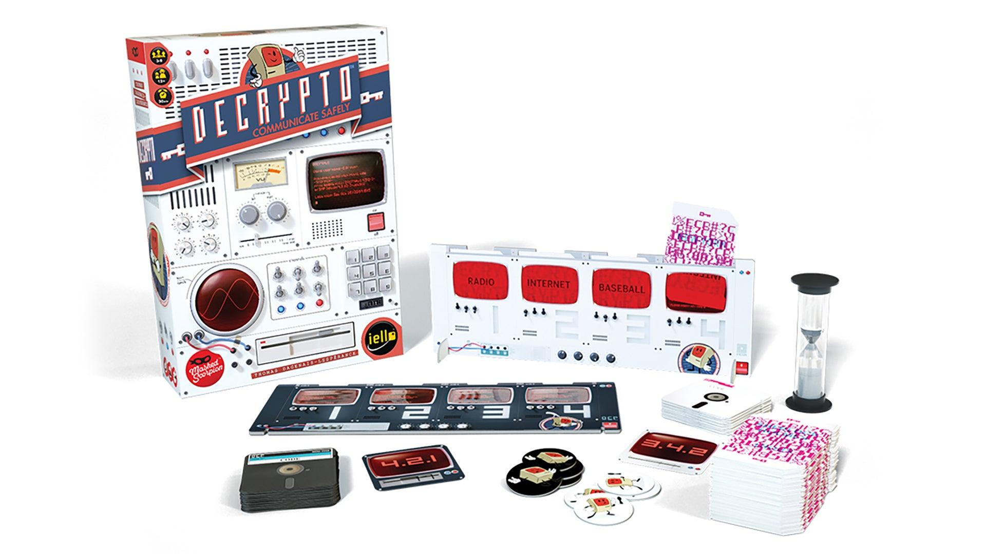 Decrypto family board game box and components