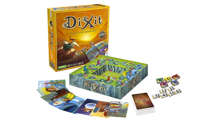 Dixit beginner board game box and components
