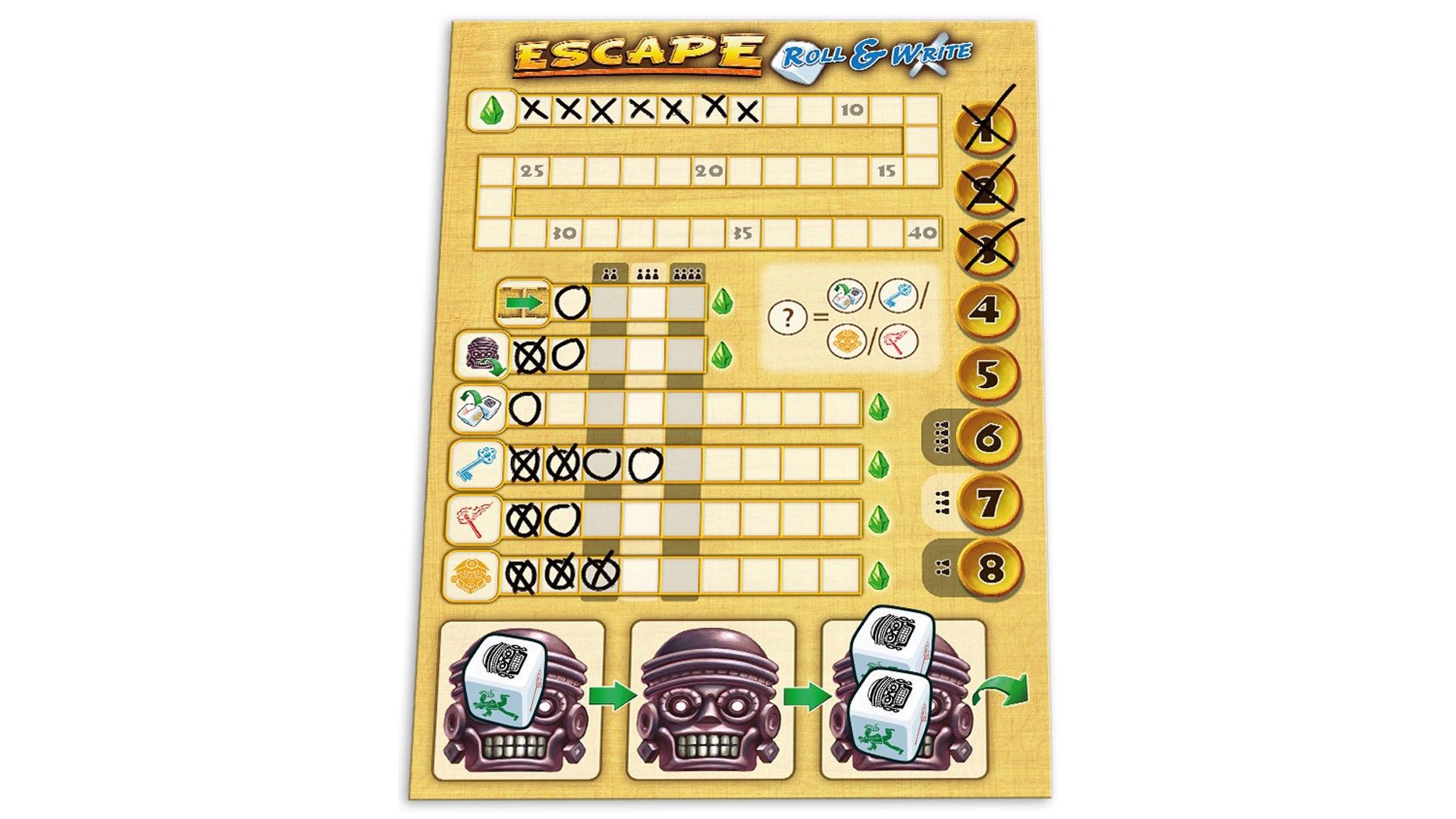 Escape Roll & Write board game layout 3