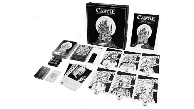 Escape the Dark Castle horror board game box and components