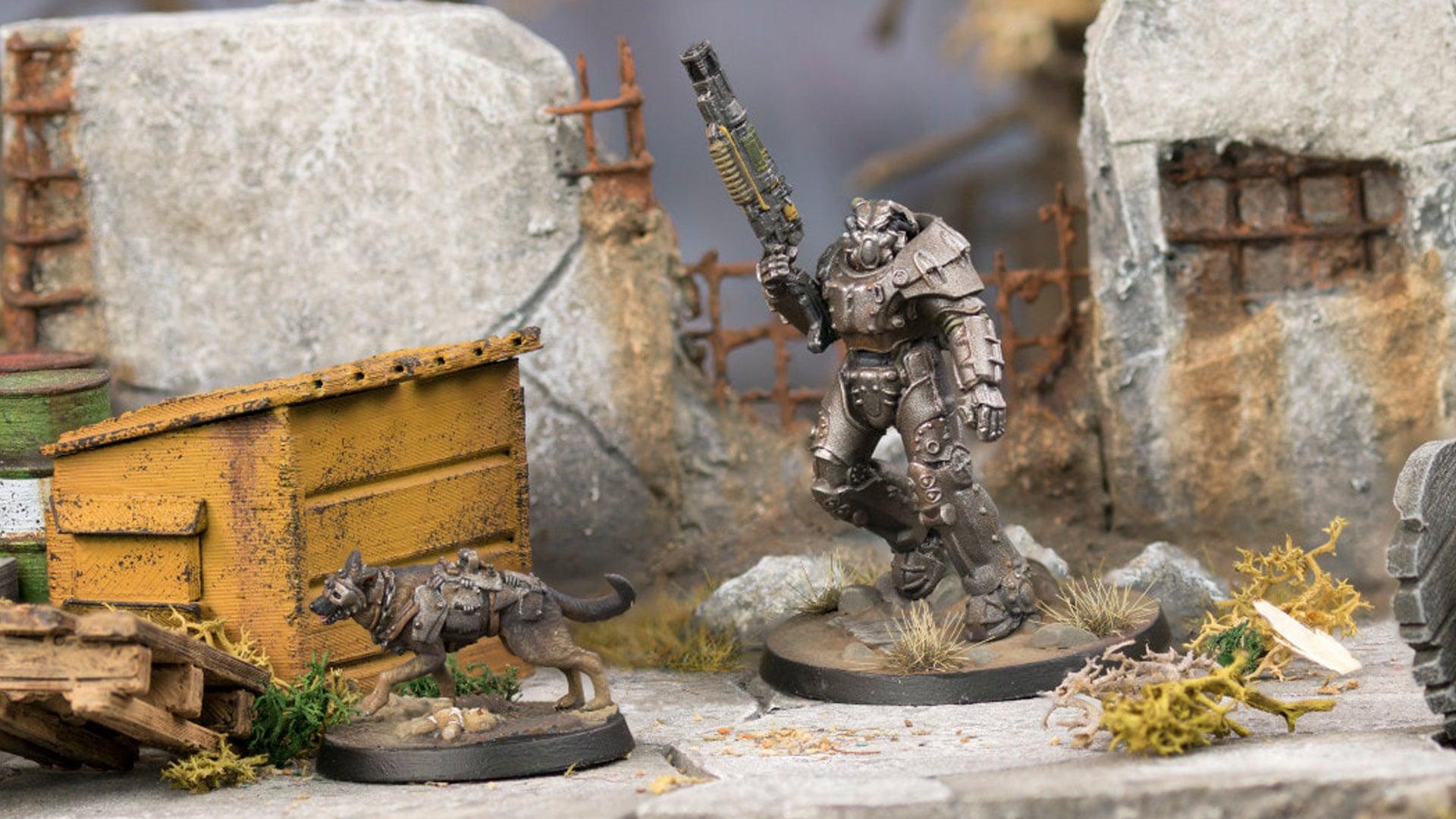 Fallout: Wasteland Warfare miniatures power armour dogmeat