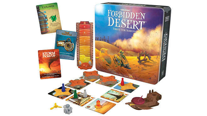 Forbidden Desert family board game box and gameplay layout