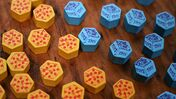 Fort board game pizza and toy tokens