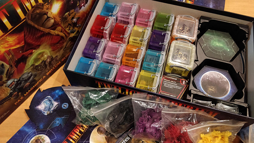 Twilight Imperium: Fourth Edition board game with baggies and box organisers