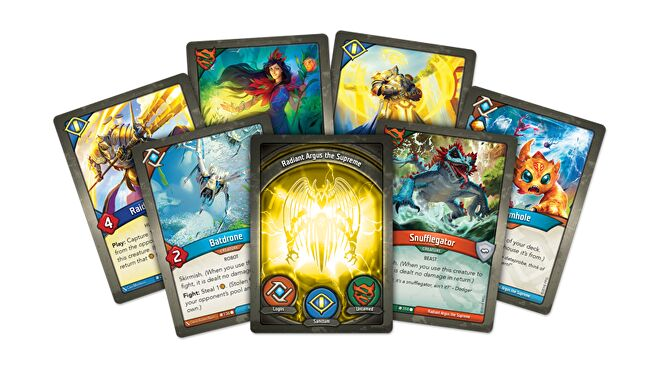 Illustration of a selection of Keyforge cards