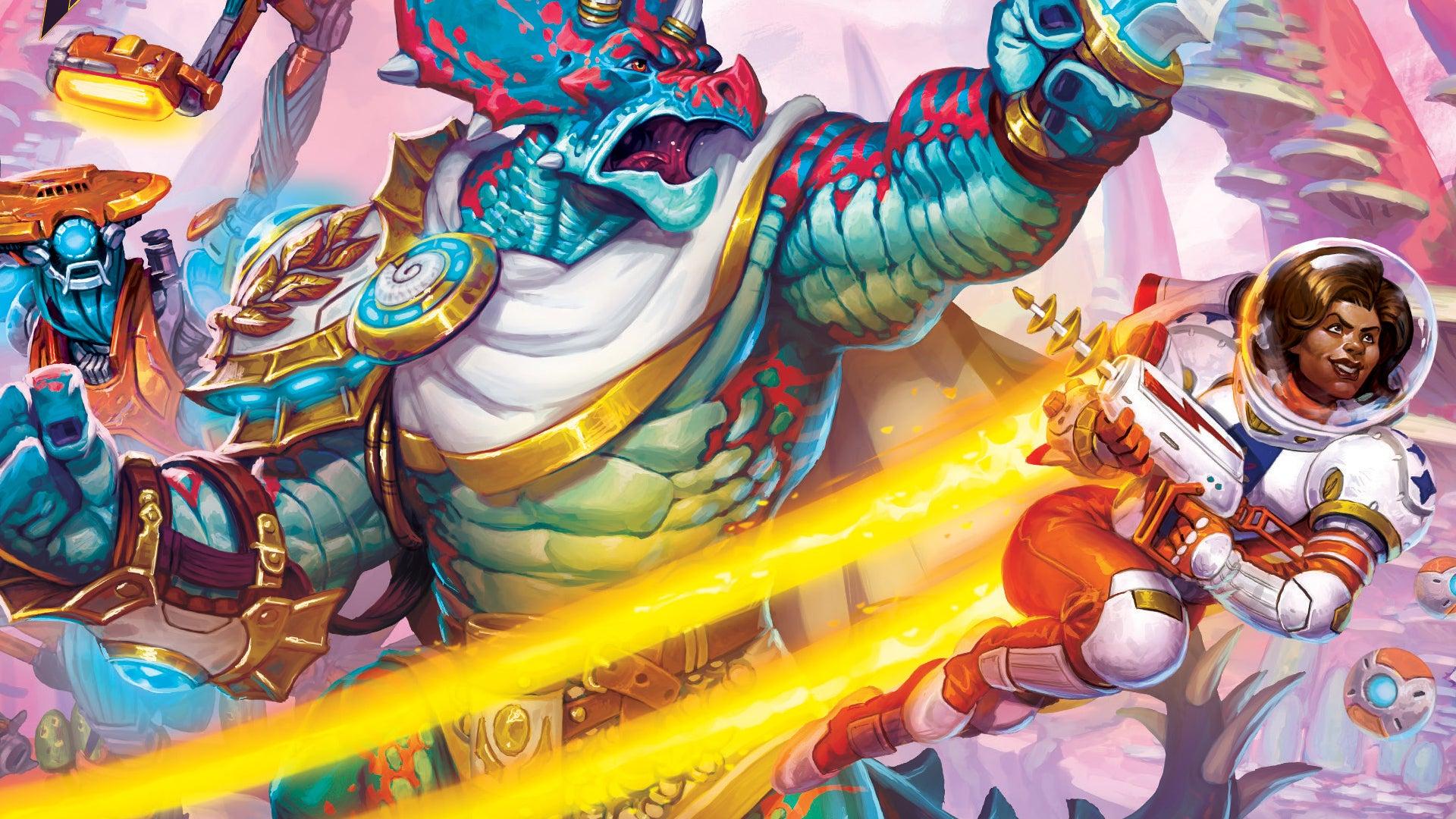 Keyforge Worlds Collide starter set trading card game artwork