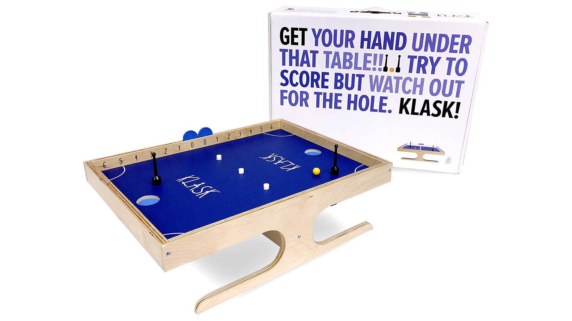Photograph of Klask board and box