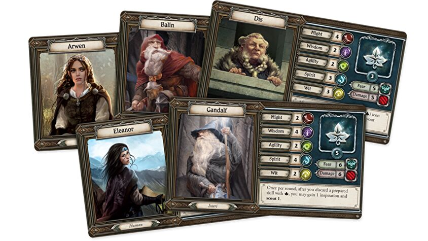 Lord of the Rings: Journeys in Middle-Earth - Shadowed Paths board game character cards