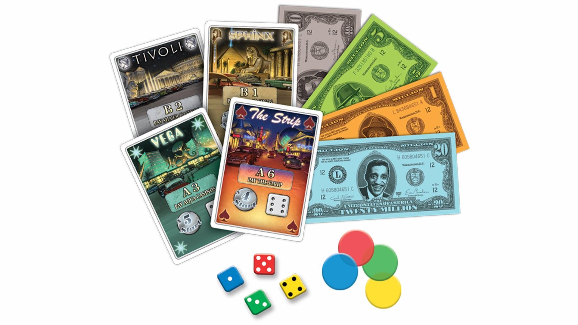 Lords of Vegas board game card fan