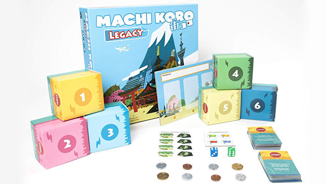 Machi Koro Legacy board game box and components
