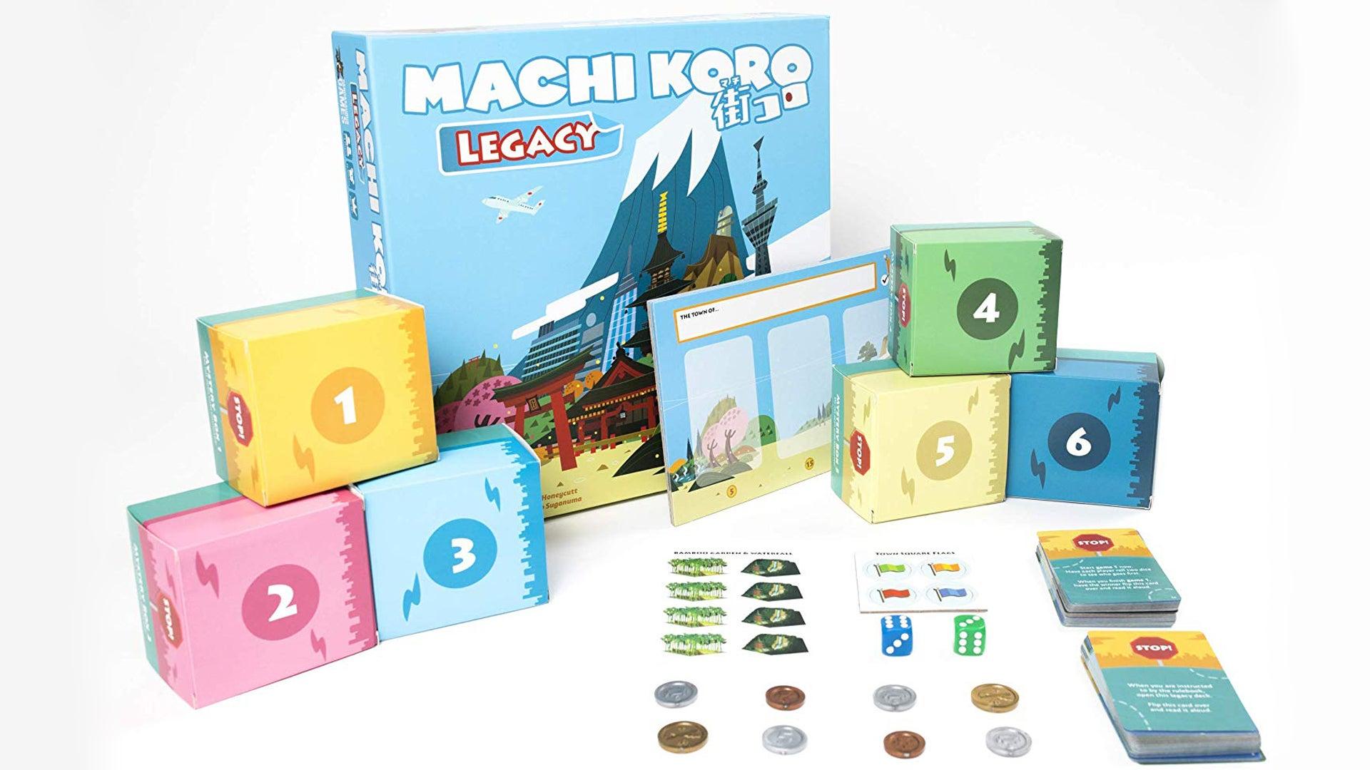Machi Koro Legacy board game box and components