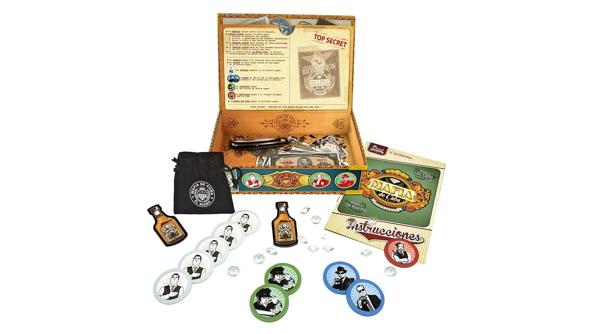 Mafia de Cuba party board game box and components