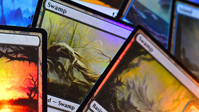 Magic: The Gathering trading card game holographic land cards