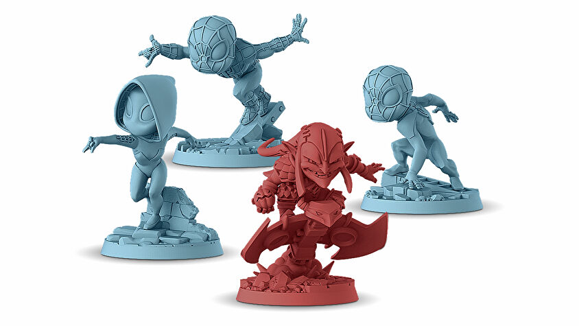 Marvel United: Enter the Spider-Verse board game miniatures