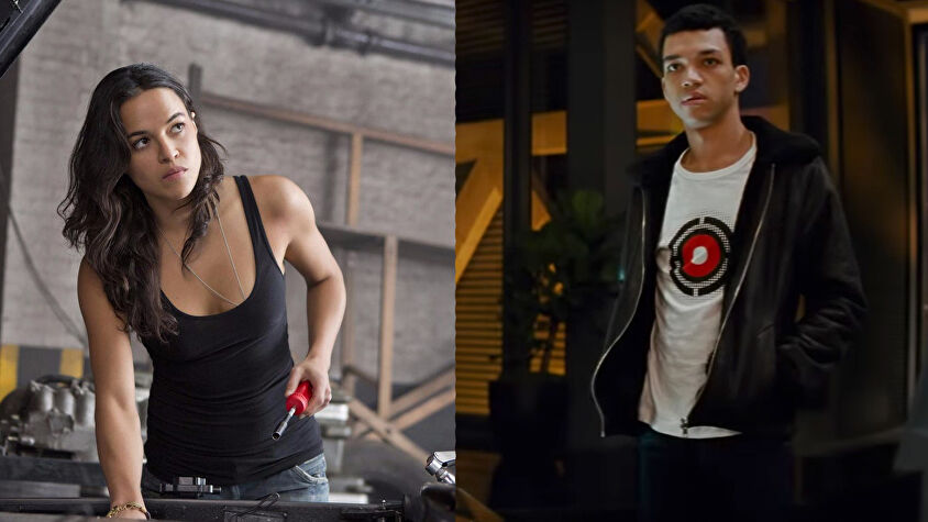 Michelle Rodriguez and Justice Smith