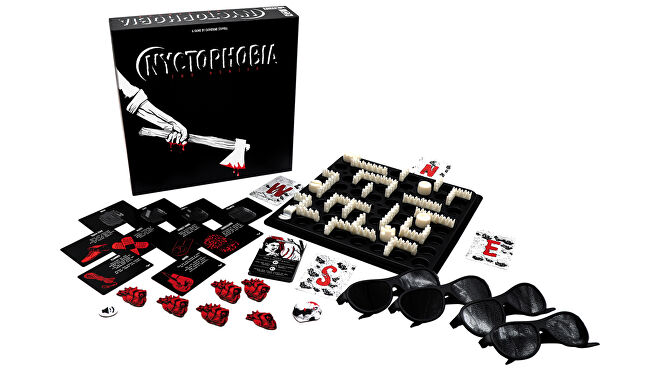Nyctophobia horror board game box and gameplay layout