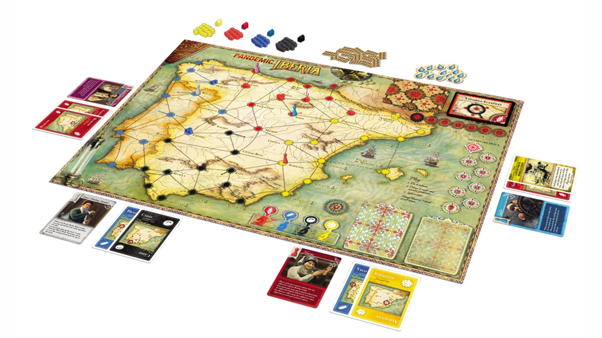 Pandemic Iberia board game layout