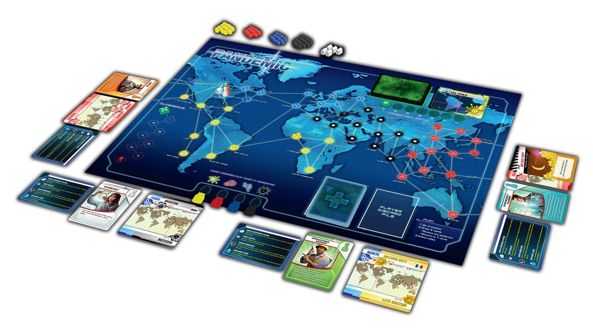 Pandemic beginner board game gameplay layout