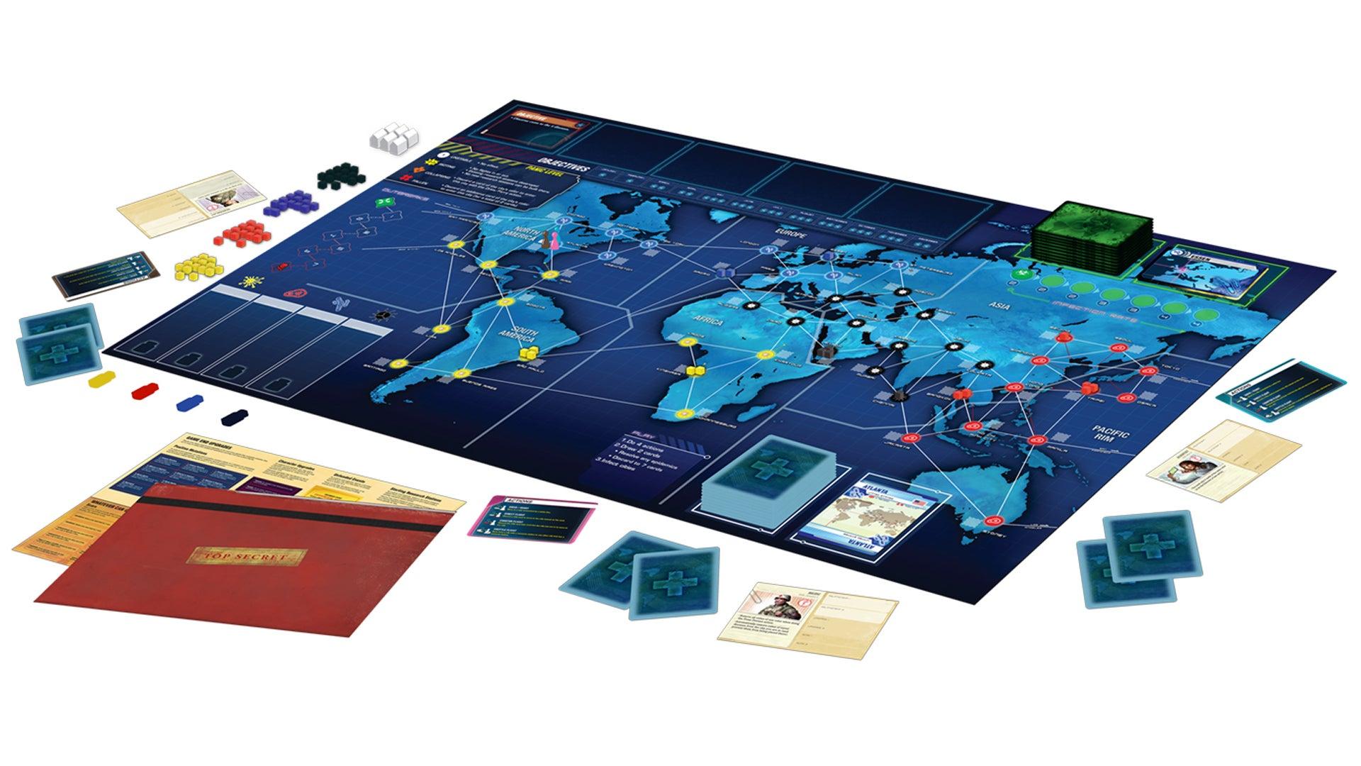 Pandemic Legacy: Season One board game gameplay layout