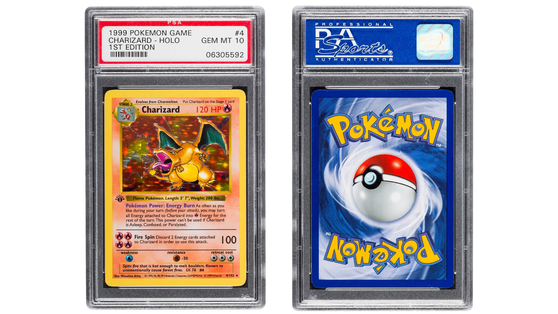 First-edition Base Set Charizard #4 Pokemon cards