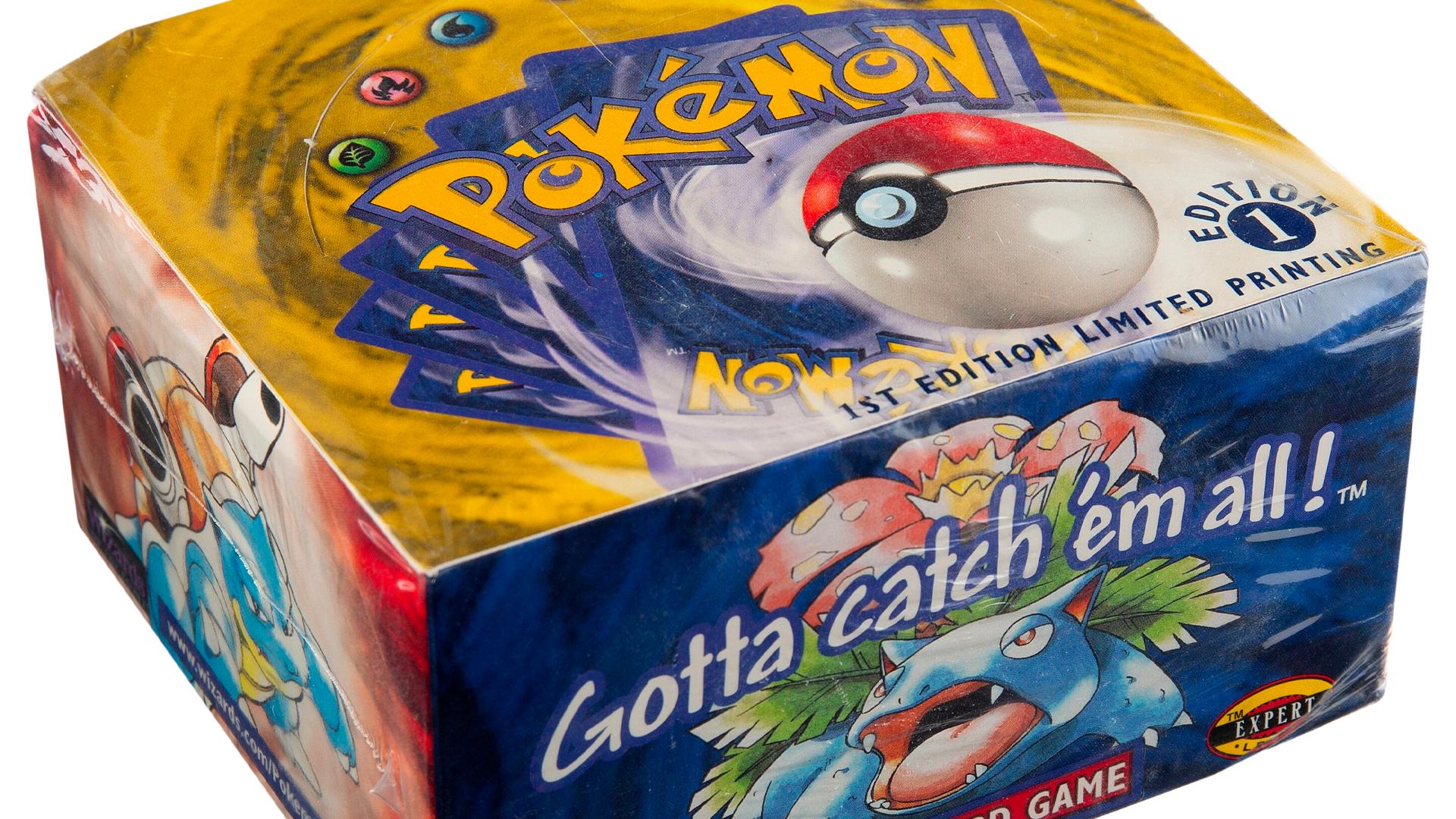 Sealed first-edition Pokemon TCG Base Set booster box