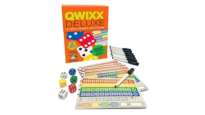 Qwixx quick board games box and components