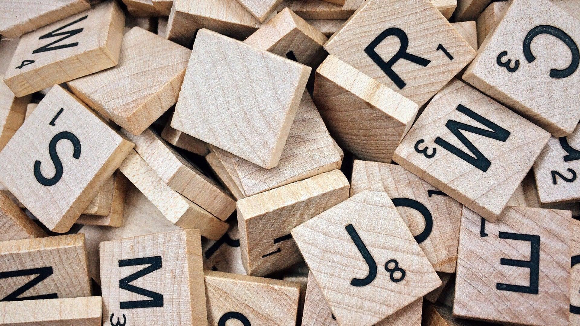 Scrabble board game tiles.