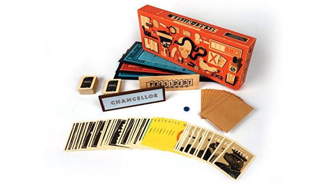 Secret Hitler party board game box and components